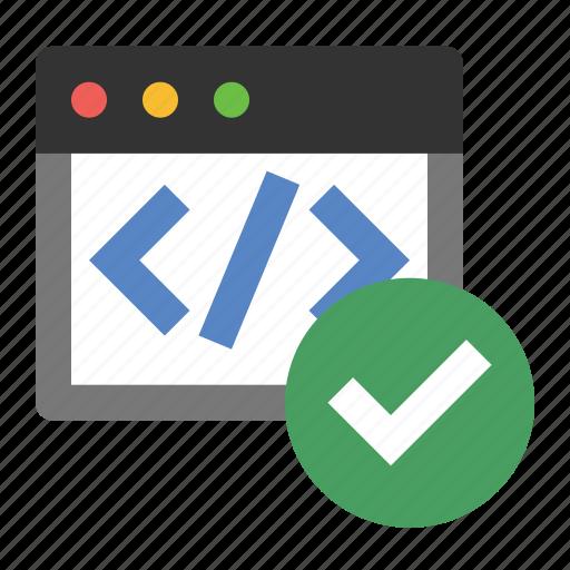 business, code validation, finance, marketing, seo, valid code icon