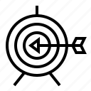 arrow, bullseye, business, finance, marketing, seo, target icon