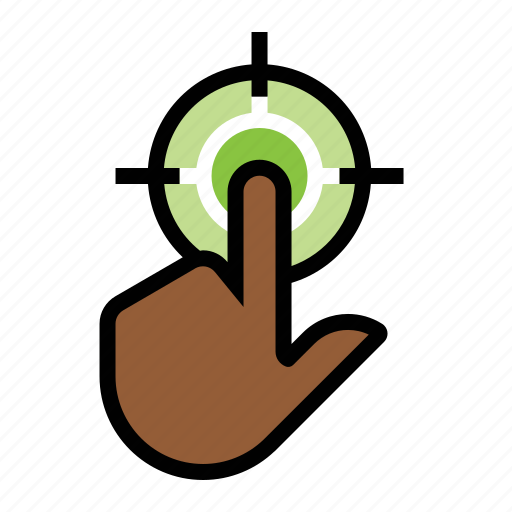 click, click target, finger, hand, target icon