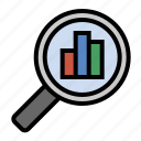 business, chart, finance, magnifying glass, marketing, search analytics, seo icon