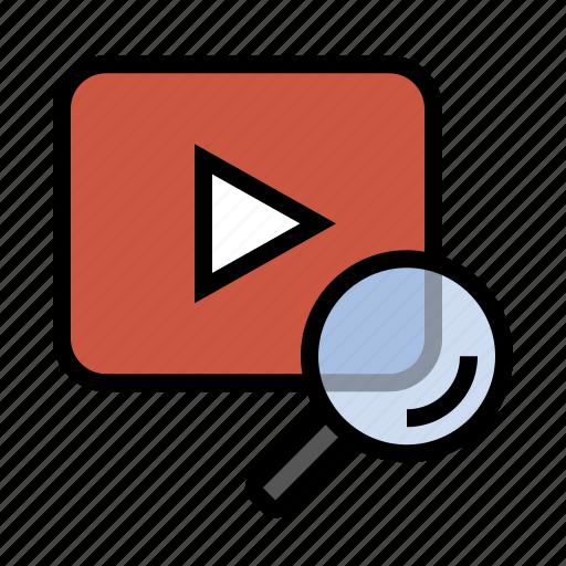 business, finance, marketing, search, seo, video search icon