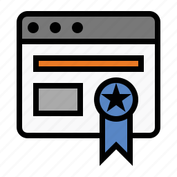 browser, business, finance, marketing, ribbon, seo, webby award icon