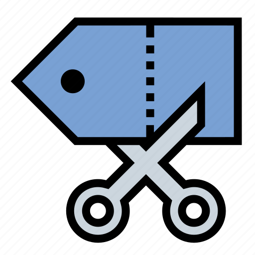 business, discount, finance, price cut, scissor icon