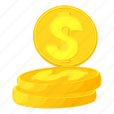 business, cartoon, coins, dollar, gold, money, wealth icon