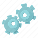 cartoon, circle, cog, cogwheel, connection, construction, development icon