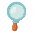 cartoon, find, glass, look, magnifier, search, zoom icon