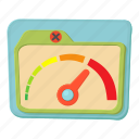 cartoon, dial, high, indicator, limit, meter, speed icon