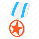 award, cartoon, medal, metal, ribbon, star, striped icon