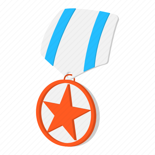 award, cartoon, medal, metal, ribbon, star, striped icon