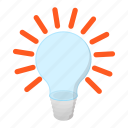 bulb, cartoon, idea, invention, lamp, light, lightbulb icon