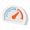 arrow, cartoon, gas, sensor, speed, speedometer, transportation icon