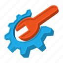build, cartoon, gear, repair, settings, tools, wrench icon