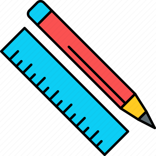 draw, education, pencil, ruler, scale, school, write icon