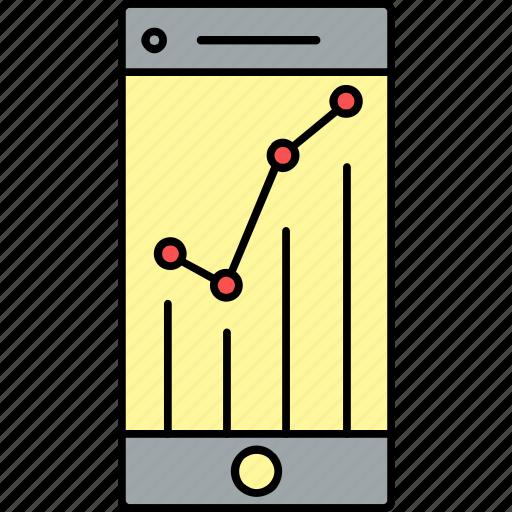 diagram, graph, mobile, presentation, report, revenue, seo icon