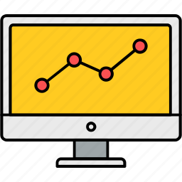 chart, diagram, graph, line, presentation, report, sales icon