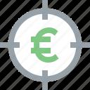 aim, bullseye, earnings, euro, goal, money