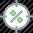aim, bullseye, earnings, goal, percent