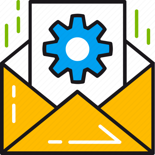 email, envelope, gear, letter, message, optimization, setting icon