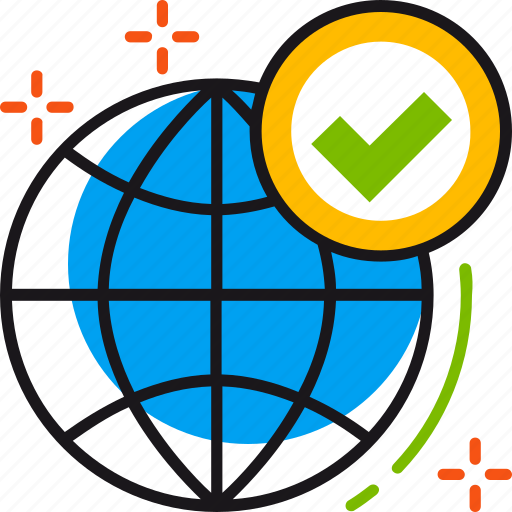 approve, global, globe, solution, tick, world icon