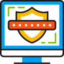 computer, monitor, password, protection, safety, security, shield icon