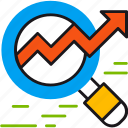 arrow, magnifier, marketing, monitoring, prediction, seo, statistics icon