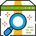 box, magnifier, marketing, package, search, seo, web icon
