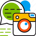 bubble, camera, chat, communication, instagram, media, social icon