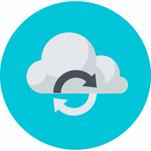 app, cloud, computing, data, flat design, storage, sync icon