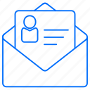 documents, email, envelope, letter, profile icon