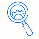 gear, magnifying glass, search, setting icon