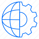 gear, globe, setting, world icon