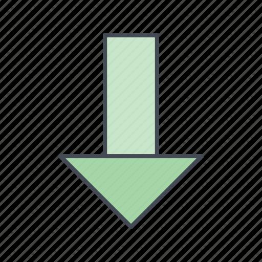 arrow, down, down ward, download icon