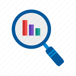 analytics, business, communication, computer, magnifying glass, people, users icon