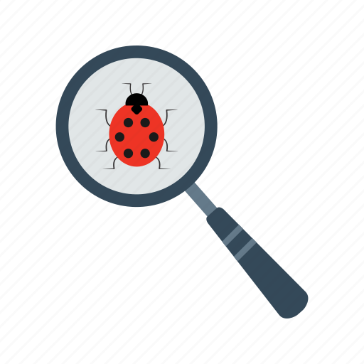 alert, analysis, analyzing, antivirus, bug, magnifying glass, search icon