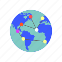 connection, earth, globe, internet, network, world, world map icon