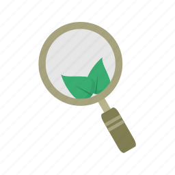 explore, find, glass, grow, natural, organic, search icon
