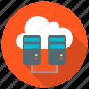 data center, host, hosting, network, server, storage icon, • cloud icon