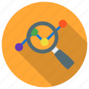 analysis, analytics, glass, magnifier, market resear icon