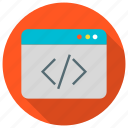 browser, code, optimization, page, source, web icon icon