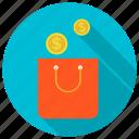 bag, coin, money, shopping, shopping bag icon icon