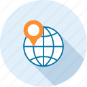 address, international, location, map, marker, navigation, world icon