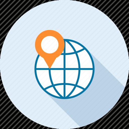 address, international, location, map, marker, navigation, world icon
