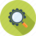 cogwheel, explore, magnifier, optimization, search, seo, view
