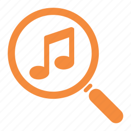 music search, musical note, searching icon