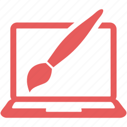 graphic design, laptop, paintbrush, web design icon