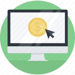 affiliate, earn, flat design, internet, marketing, online, pay per click icon