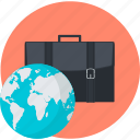 business, flat design, international, round icon