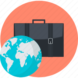 business, flat design, international, round icon