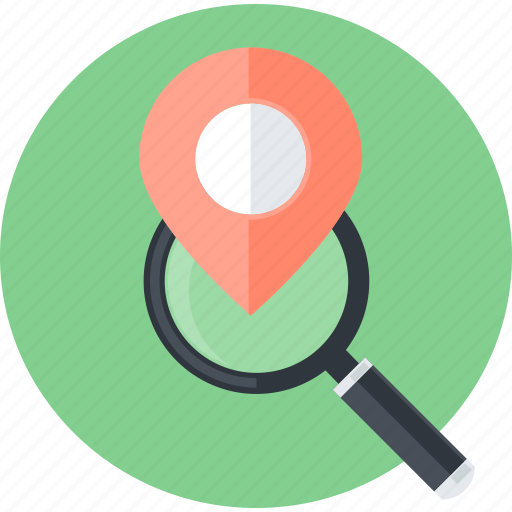 flat design, internet, local, location, optimization, round, seo icon