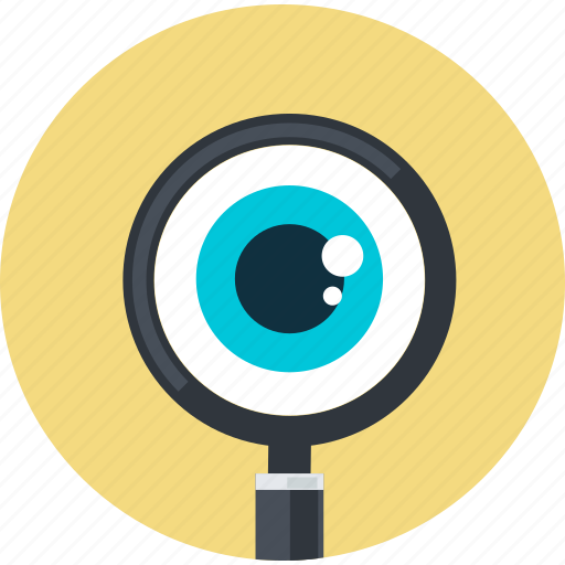 browse, control, flat design, internet, monitoring, round, search icon